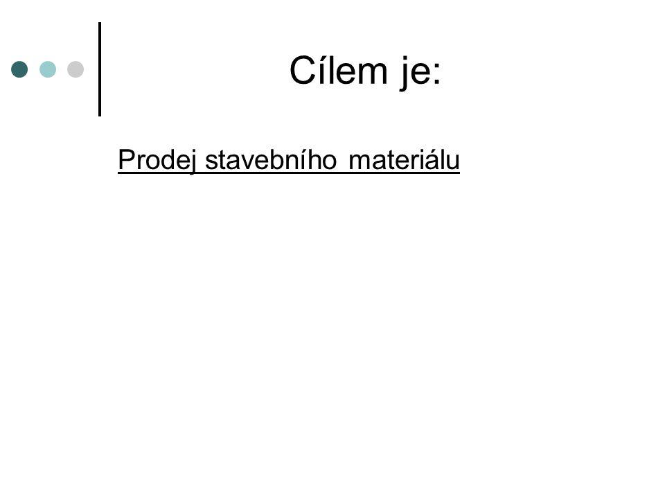 Cílem je: Prodej stavebního materiálu