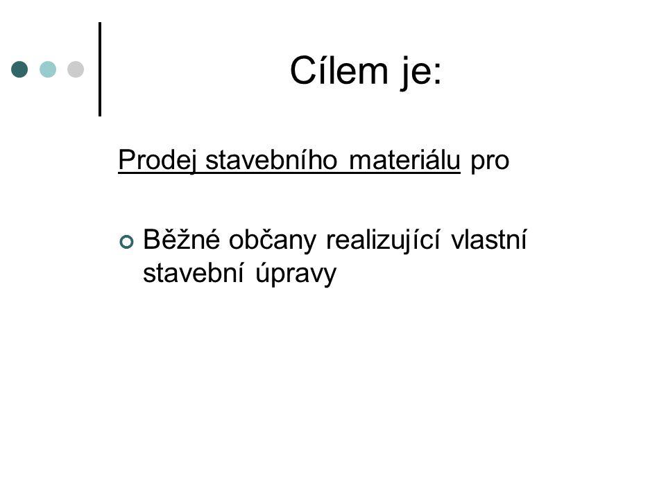 Cílem je: Prodej stavebního materiálu pro Běžné občany realizující vlastní stavební úpravy