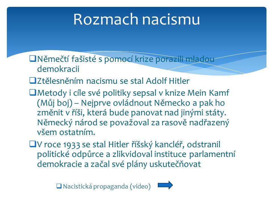  Němečtí fašisté s pomocí krize porazili mladou demokracii  Ztělesněním nacismu se stal Adolf Hitler  Metody i cíle své politiky sepsal v knize Mei