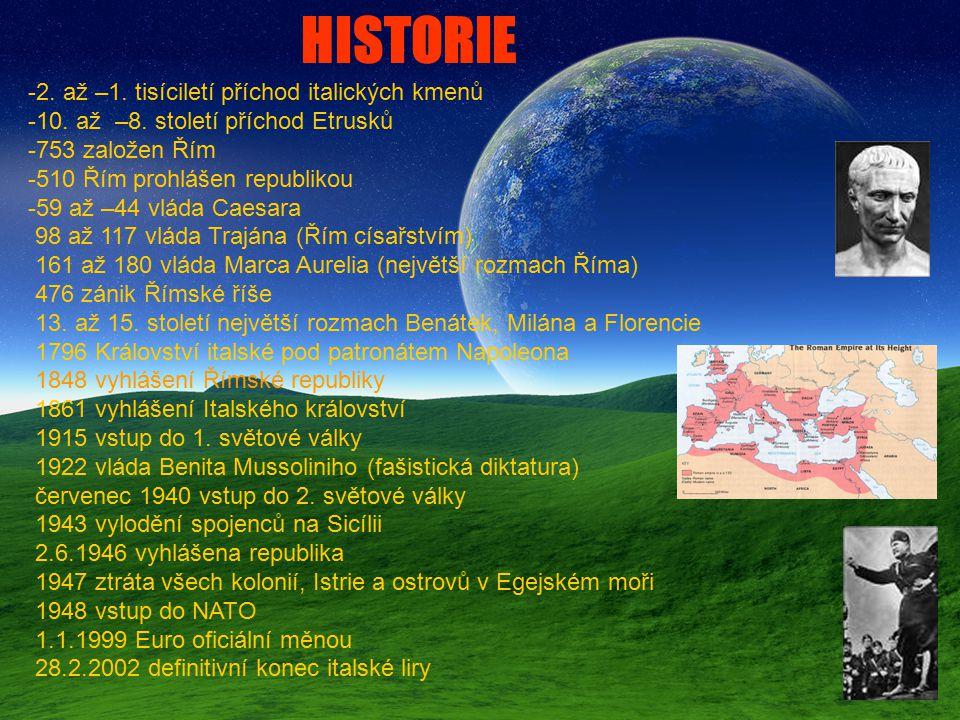-2. až –1. tisíciletí příchod italických kmenů -10. až –8. století příchod Etrusků -753 založen Řím -510 Řím prohlášen republikou -59 až –44 vláda Cae