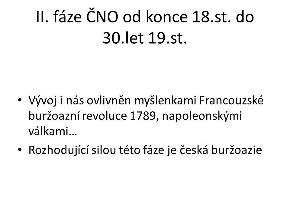 II. fáze ČNO od konce 18.st. do 30.let 19.st.