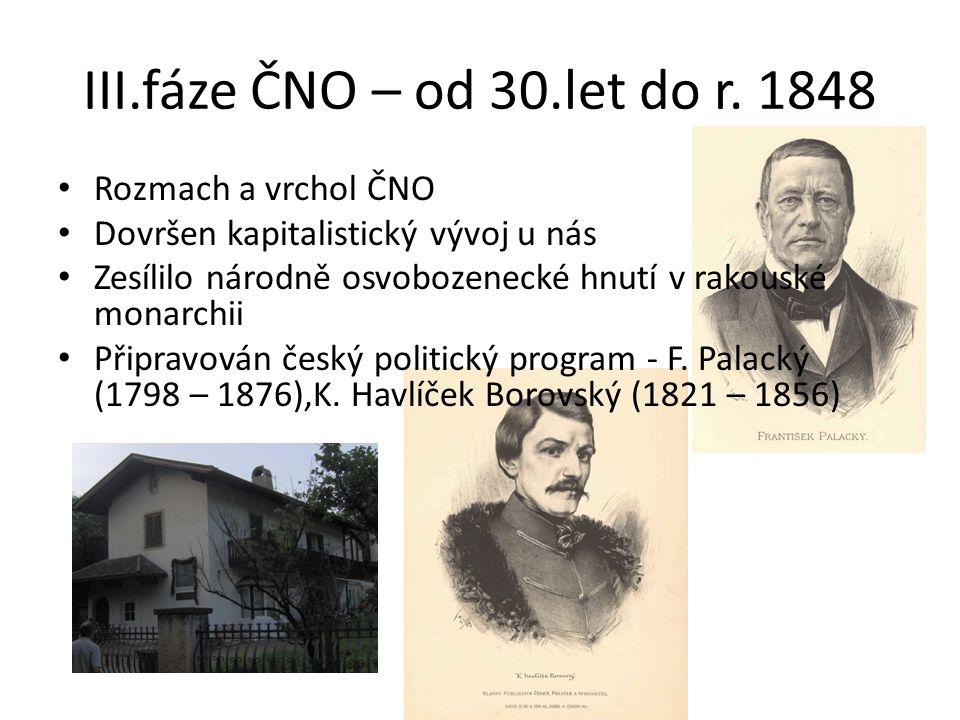 III.fáze ČNO – od 30.let do r. 1848 Rozmach a vrchol ČNO Dovršen kapitalistický vývoj u nás Zesílilo národně osvobozenecké hnutí v rakouské monarchii