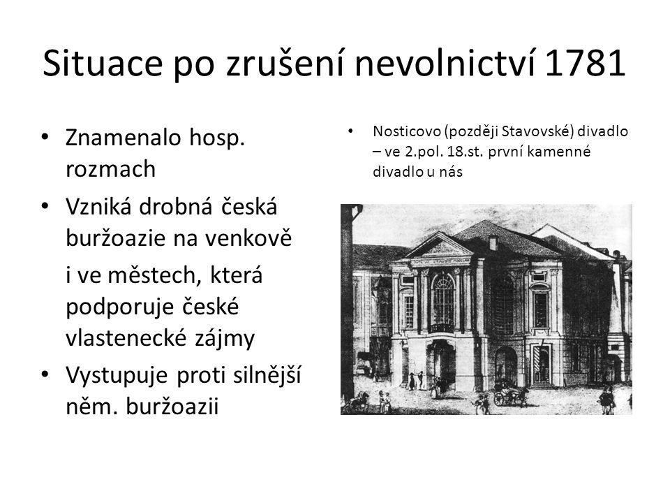Situace po zrušení nevolnictví 1781 Znamenalo hosp.