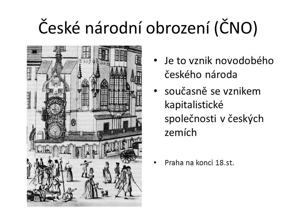České národní obrození (ČNO) Je to vznik novodobého českého národa současně se vznikem kapitalistické společnosti v českých zemích Praha na konci 18.st.