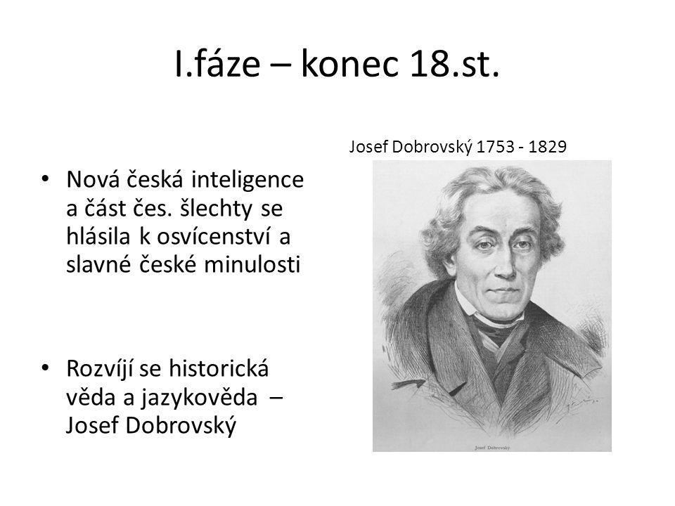 I.fáze – konec 18.st. Nová česká inteligence a část čes.