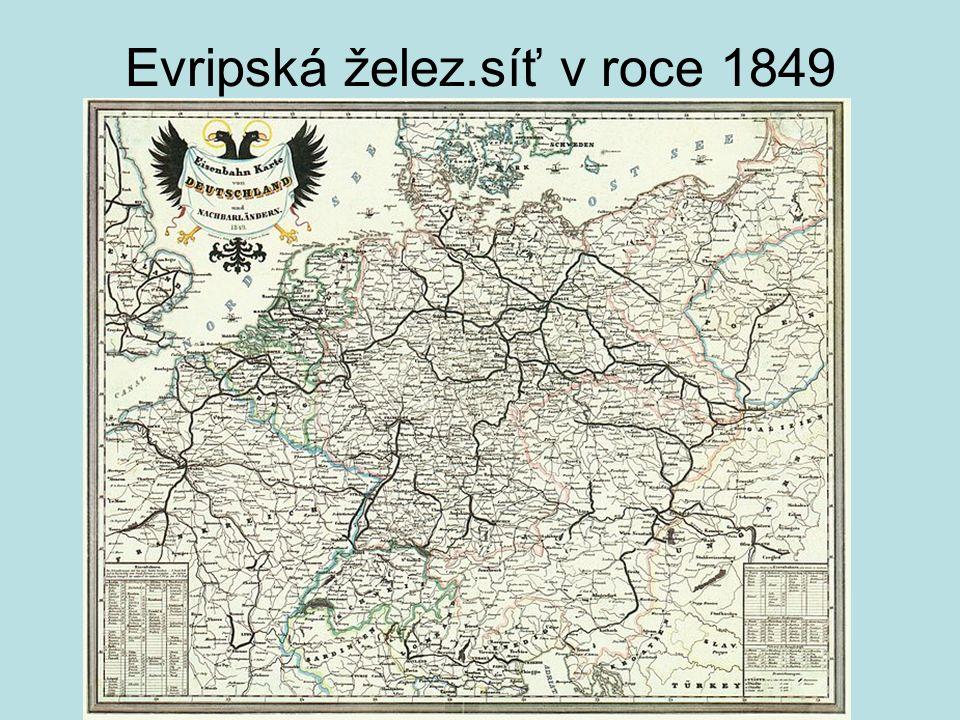 Evripská želez.síť v roce 1849