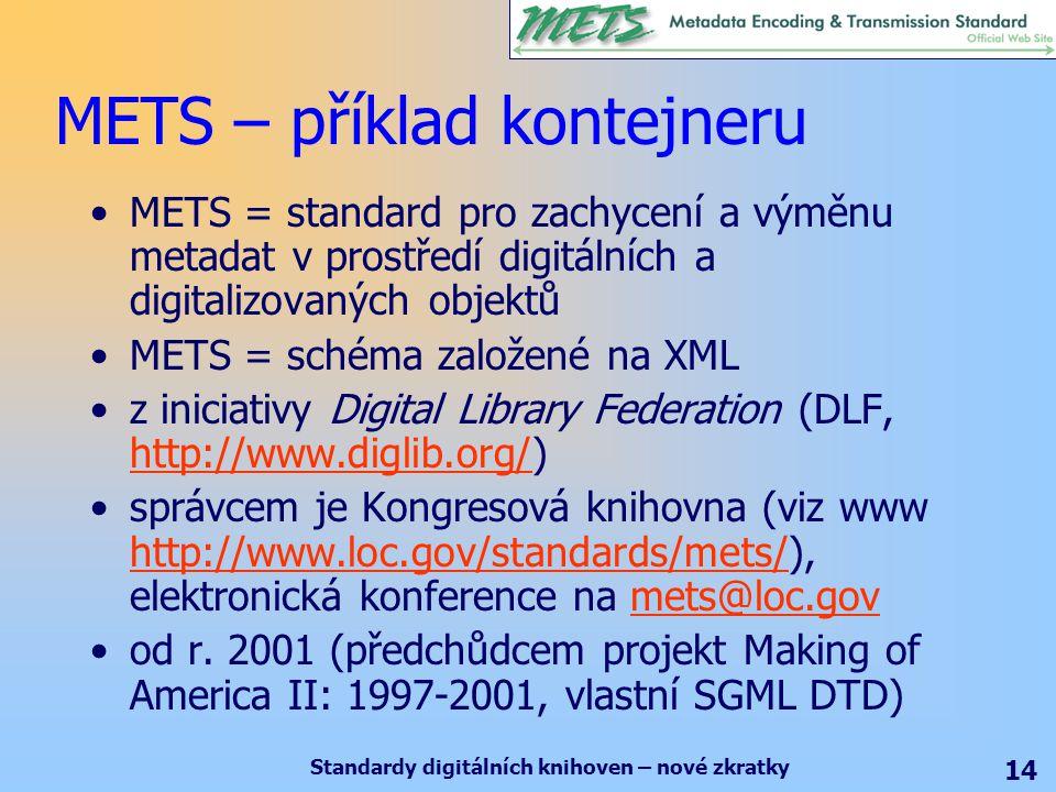 Standardy digitálních knihoven – nové zkratky 14 METS – příklad kontejneru METS = standard pro zachycení a výměnu metadat v prostředí digitálních a digitalizovaných objektů METS = schéma založené na XML z iniciativy Digital Library Federation (DLF, http://www.diglib.org/) http://www.diglib.org/ správcem je Kongresová knihovna (viz www http://www.loc.gov/standards/mets/), elektronická konference na mets@loc.gov http://www.loc.gov/standards/mets/mets@loc.gov od r.