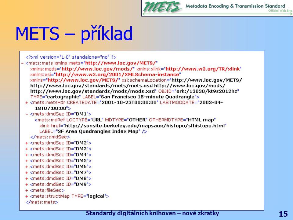 Standardy digitálních knihoven – nové zkratky 15 METS – příklad