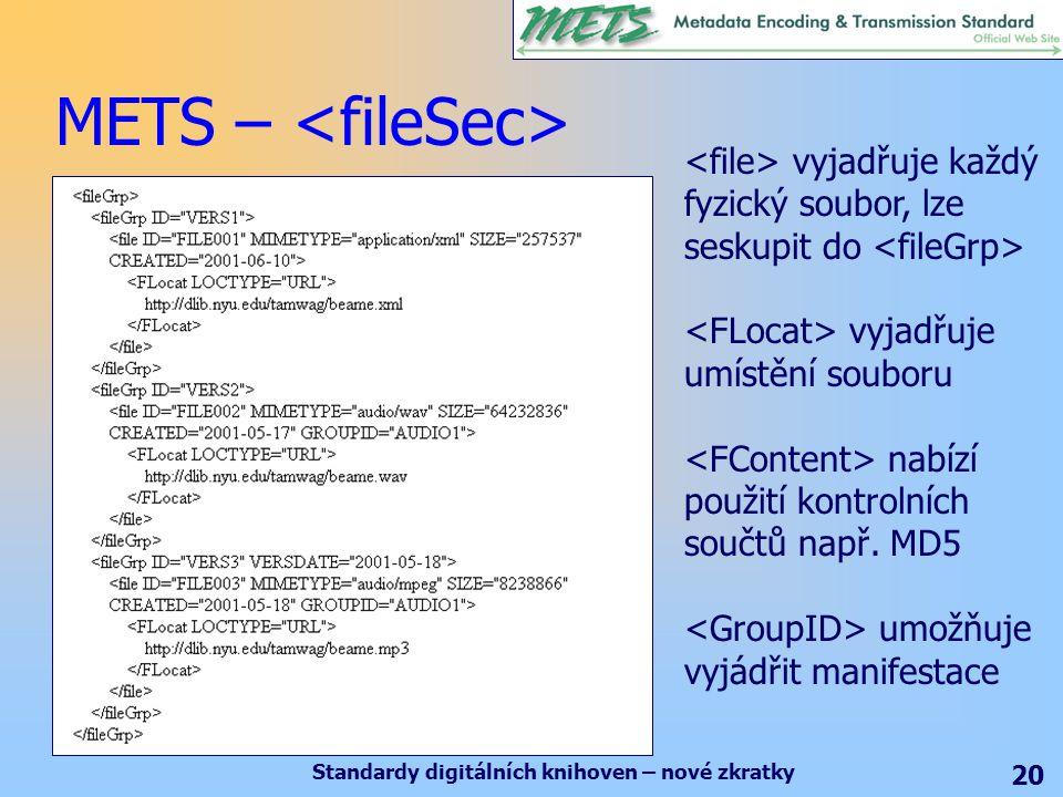 Standardy digitálních knihoven – nové zkratky 20 METS – vyjadřuje každý fyzický soubor, lze seskupit do vyjadřuje umístění souboru nabízí použití kontrolních součtů např.