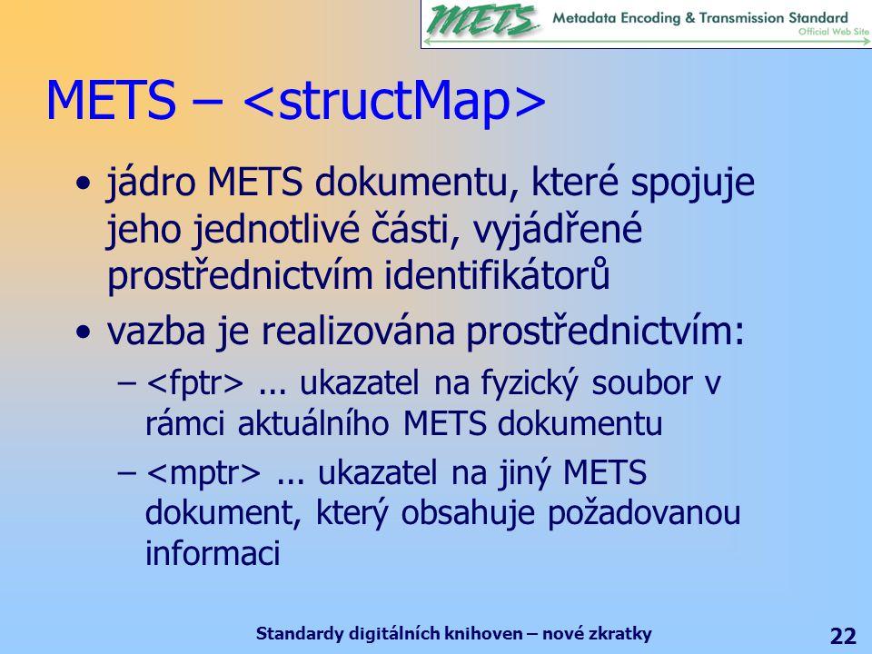 Standardy digitálních knihoven – nové zkratky 22 METS – jádro METS dokumentu, které spojuje jeho jednotlivé části, vyjádřené prostřednictvím identifikátorů vazba je realizována prostřednictvím: –...
