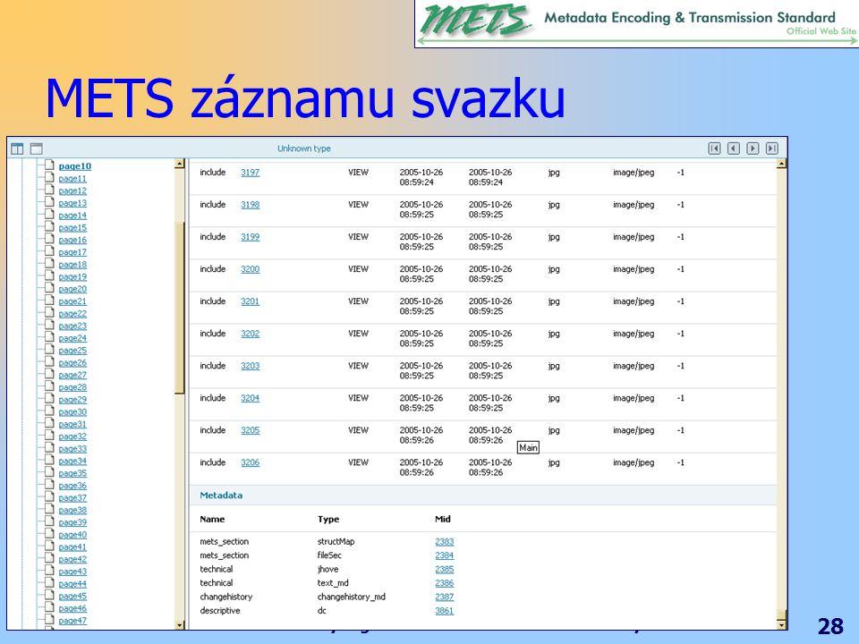 Standardy digitálních knihoven – nové zkratky 28 METS záznamu svazku