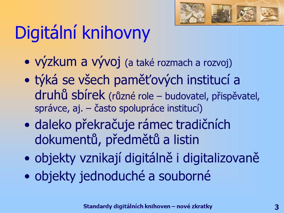 Standardy digitálních knihoven – nové zkratky 3 Digitální knihovny výzkum a vývoj (a také rozmach a rozvoj) týká se všech paměťových institucí a druhů sbírek (různé role – budovatel, přispěvatel, správce, aj.