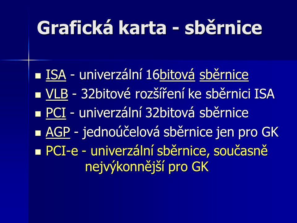 Grafická karta - sběrnice ISA - univerzální 16bitová sběrnice ISA - univerzální 16bitová sběrnice ISAbitovásběrnice ISAbitovásběrnice VLB - 32bitové r