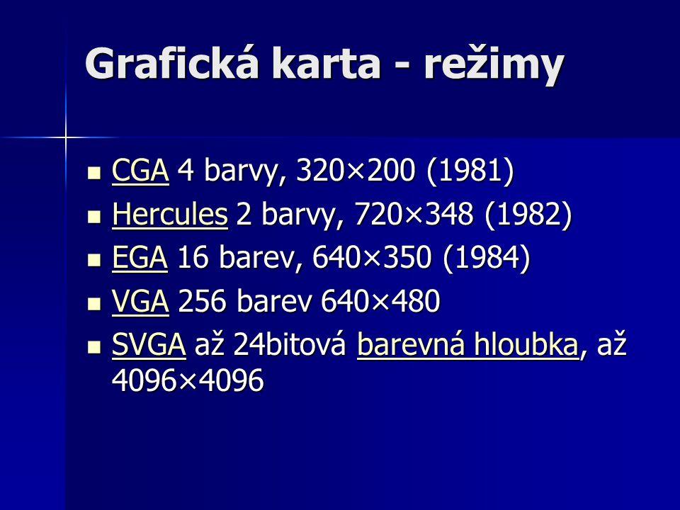 Grafická karta - režimy CGA 4 barvy, 320×200 (1981) CGA 4 barvy, 320×200 (1981) CGA Hercules 2 barvy, 720×348 (1982) Hercules 2 barvy, 720×348 (1982)