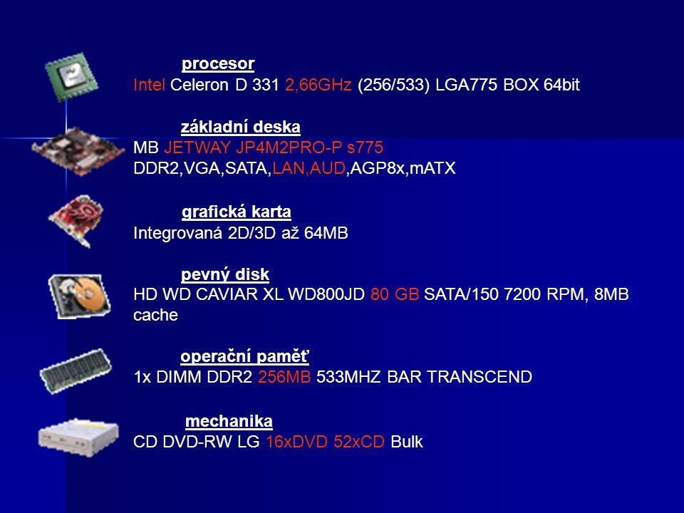 procesor Intel Celeron D 331 2,66GHz (256/533) LGA775 BOX 64bit základní deska MB JETWAY JP4M2PRO-P s775 DDR2,VGA,SATA,LAN,AUD,AGP8x,mATX grafická kar