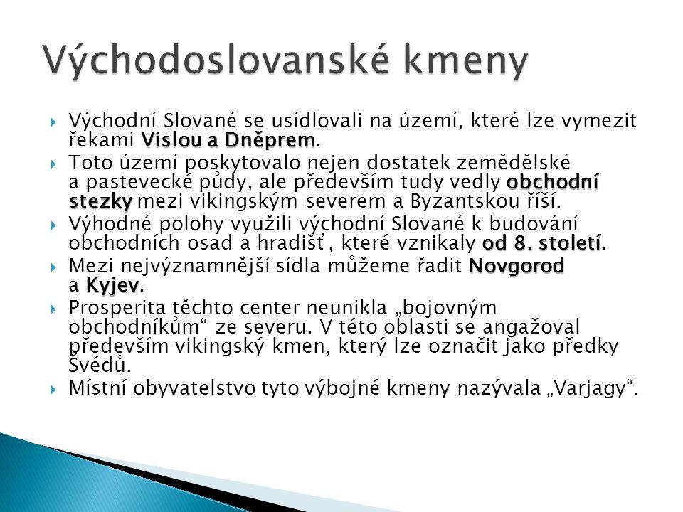 Vislou a Dněprem  Východní Slované se usídlovali na území, které lze vymezit řekami Vislou a Dněprem. obchodní stezky  Toto území poskytovalo nejen