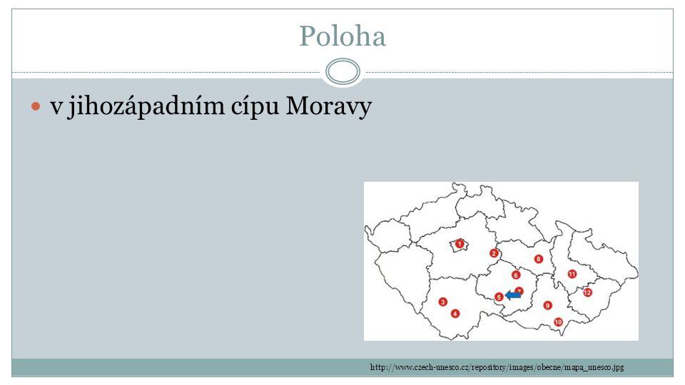 Poloha v jihozápadním cípu Moravy http://www.czech-unesco.cz/repository/images/obecne/mapa_unesco.jpg