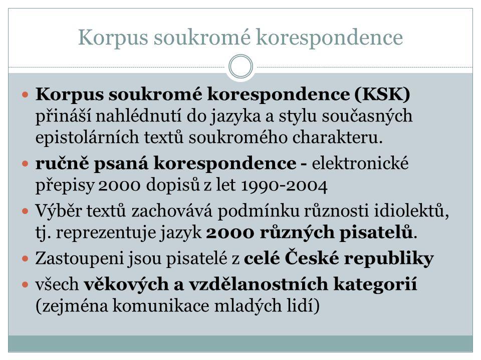 Korpus soukromé korespondence Korpus soukromé korespondence (KSK) přináší nahlédnutí do jazyka a stylu současných epistolárních textů soukromého chara