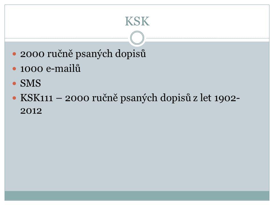 KSK 2000 ručně psaných dopisů 1000 e-mailů SMS KSK111 – 2000 ručně psaných dopisů z let 1902- 2012