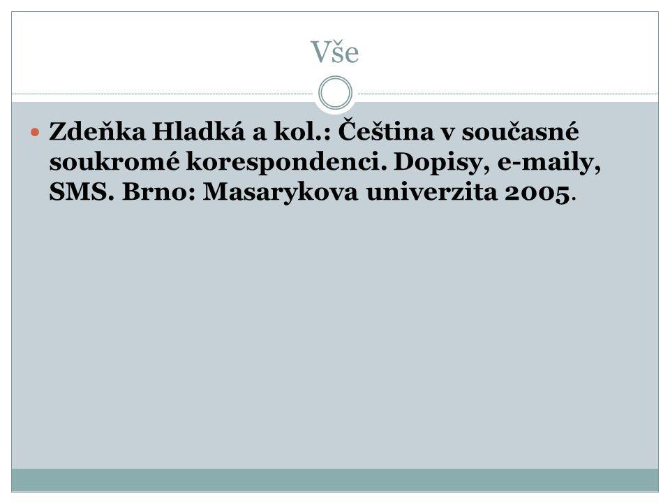 Vše Zdeňka Hladká a kol.: Čeština v současné soukromé korespondenci. Dopisy, e-maily, SMS. Brno: Masarykova univerzita 2005.
