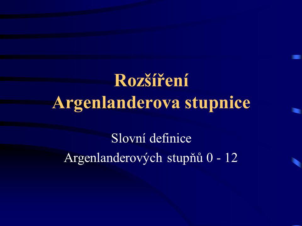 Rozšíření Argenlanderova stupnice Slovní definice Argenlanderových stupňů 0 - 12