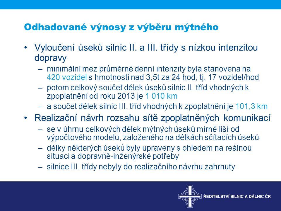 Odhadované výnosy z výběru mýtného Vyloučení úseků silnic II.