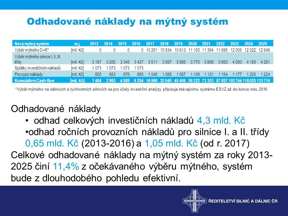 Odhadované náklady na mýtný systém *Výběr mýtného na dálnicích a rychlostních silnicích se pro účely investiční analýzy připisuje stávajícímu systému