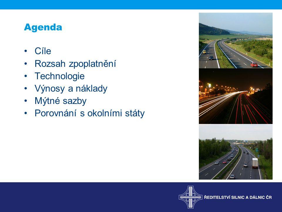 Agenda Cíle Rozsah zpoplatnění Technologie Výnosy a náklady Mýtné sazby Porovnání s okolními státy