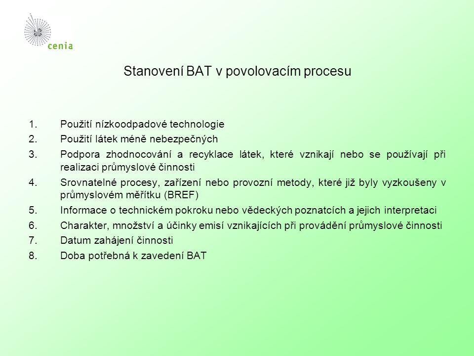 Stanovení BAT v povolovacím procesu 1.Použití nízkoodpadové technologie 2.Použití látek méně nebezpečných 3.Podpora zhodnocování a recyklace látek, které vznikají nebo se používají při realizaci průmyslové činnosti 4.Srovnatelné procesy, zařízení nebo provozní metody, které již byly vyzkoušeny v průmyslovém měřítku (BREF) 5.Informace o technickém pokroku nebo vědeckých poznatcích a jejich interpretaci 6.Charakter, množství a účinky emisí vznikajících při provádění průmyslové činnosti 7.Datum zahájení činnosti 8.Doba potřebná k zavedení BAT