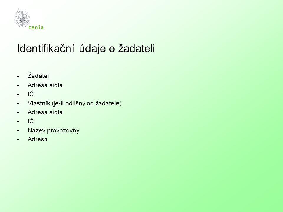 Průmyslová činnost -Kategorie dle přílohy č.