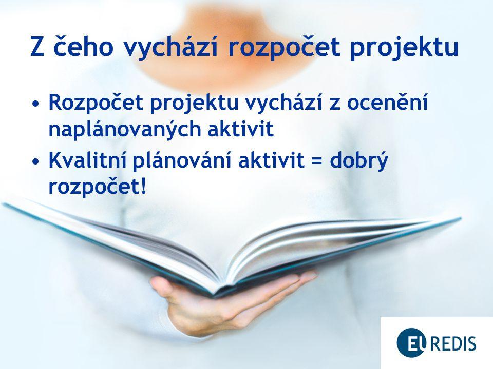 Z čeho vychází rozpočet projektu Rozpočet projektu vychází z ocenění naplánovaných aktivit Kvalitní plánování aktivit = dobrý rozpočet!