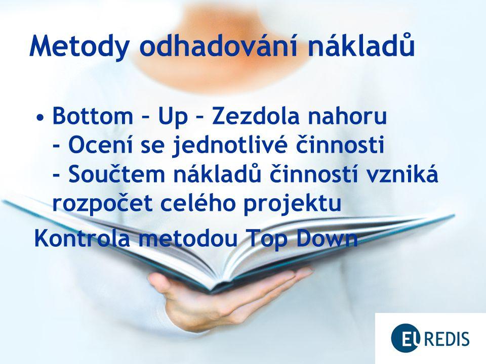 Metody odhadování nákladů Bottom – Up – Zezdola nahoru - Ocení se jednotlivé činnosti - Součtem nákladů činností vzniká rozpočet celého projektu Kontr