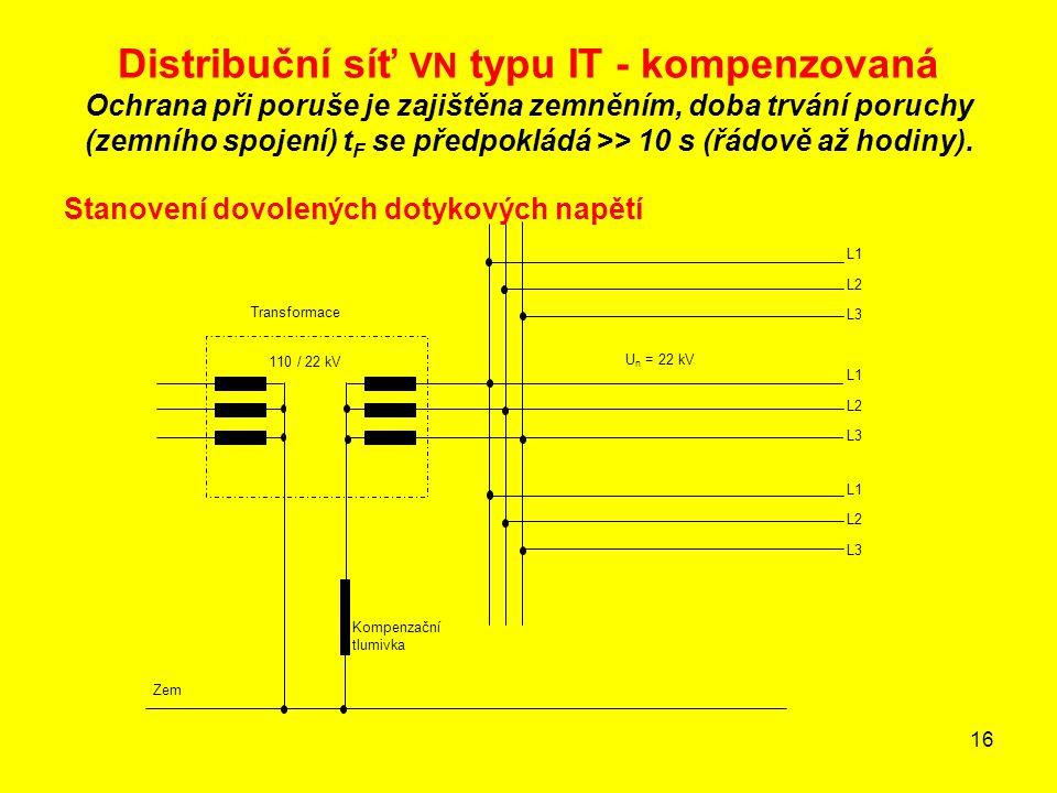 16 Distribuční síť VN typu IT - kompenzovaná Ochrana při poruše je zajištěna zemněním, doba trvání poruchy (zemního spojení) t F se předpokládá >> 10