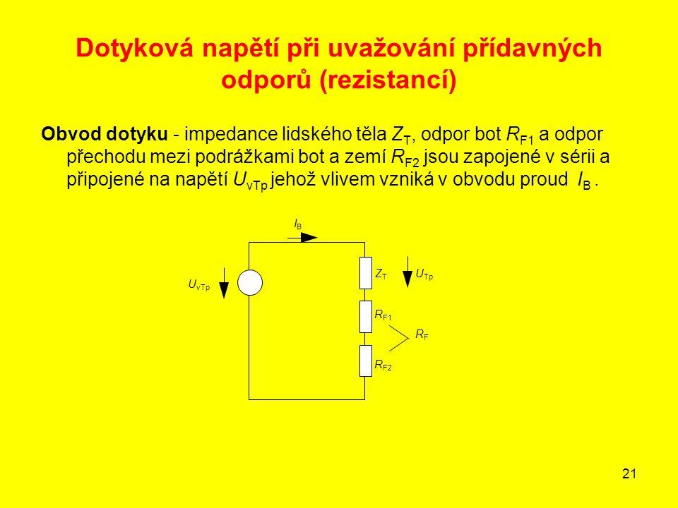 21 Dotyková napětí při uvažování přídavných odporů (rezistancí) Obvod dotyku - impedance lidského těla Z T, odpor bot R F1 a odpor přechodu mezi podrá