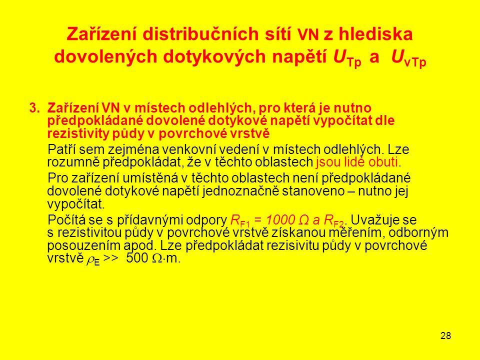 28 Zařízení distribučních sítí VN z hlediska dovolených dotykových napětí U Tp a U vTp 3. Zařízení VN v místech odlehlých, pro která je nutno předpokl
