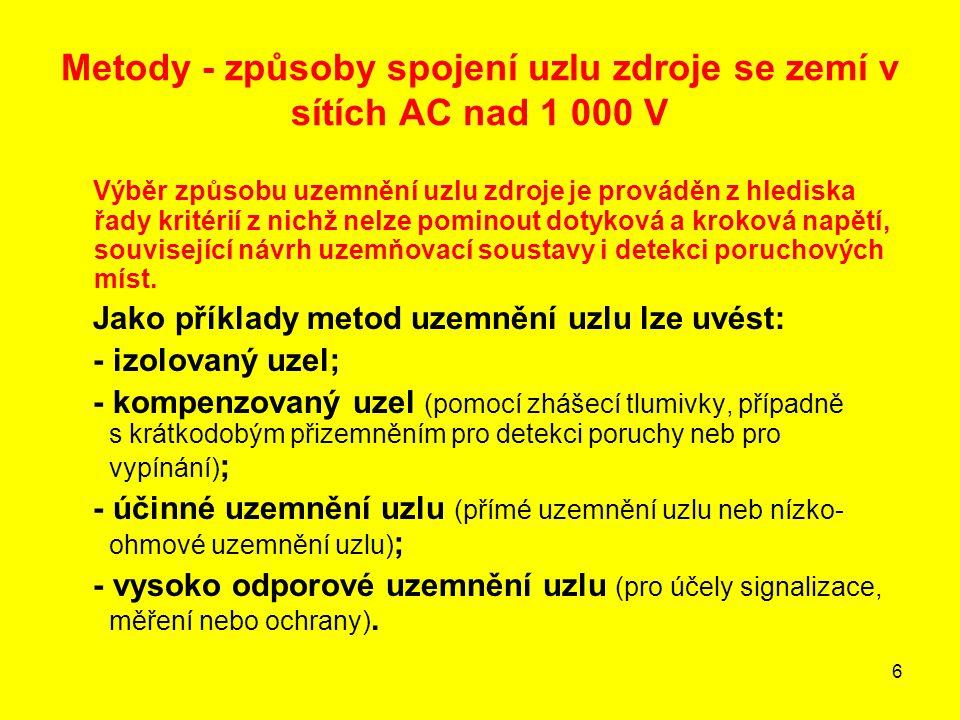 27 Zařízení distribučních sítí VN z hlediska dovolených dotykových napětí U Tp a U vTp 1.