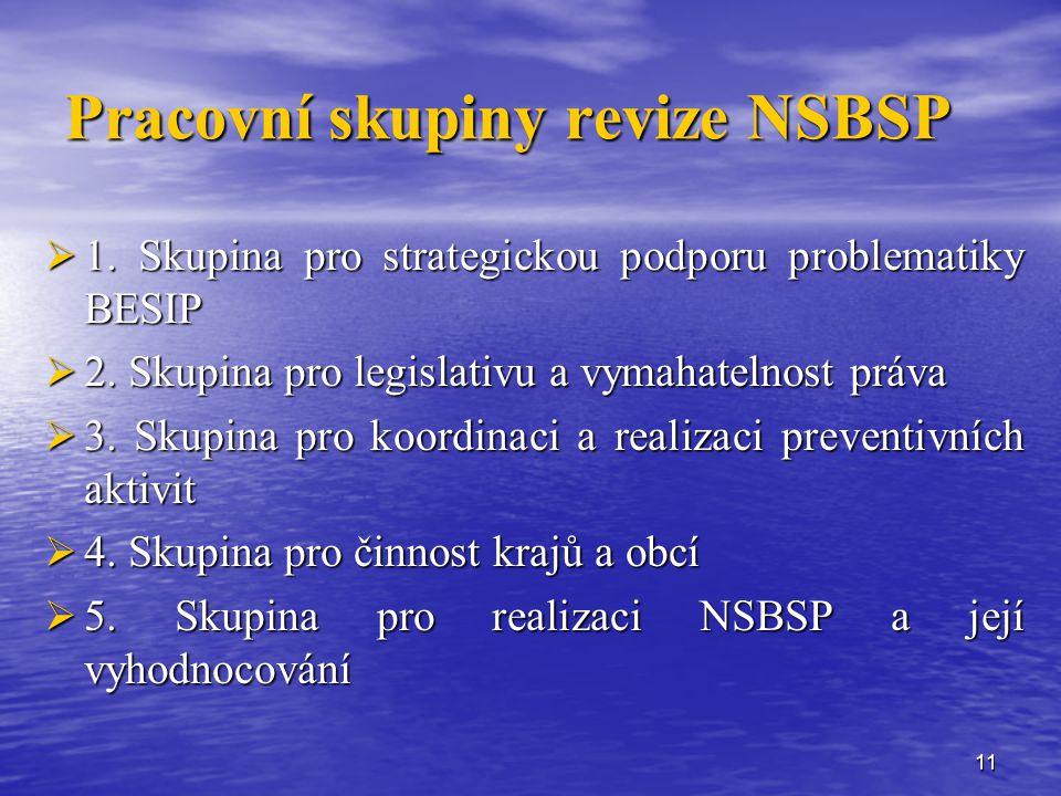 11 Pracovní skupiny revize NSBSP  1.Skupina pro strategickou podporu problematiky BESIP  2.