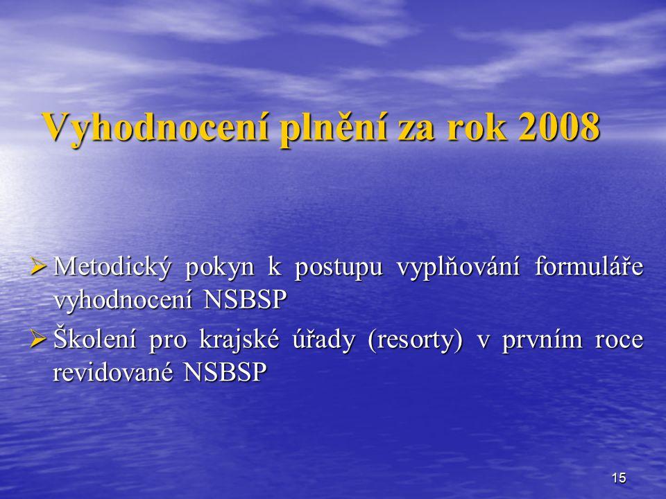 15 Vyhodnocení plnění za rok 2008  Metodický pokyn k postupu vyplňování formuláře vyhodnocení NSBSP  Školení pro krajské úřady (resorty) v prvním roce revidované NSBSP