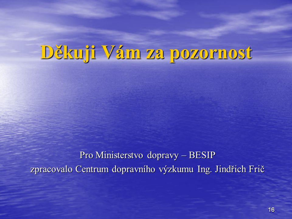 16 Děkuji Vám za pozornost Pro Ministerstvo dopravy – BESIP zpracovalo Centrum dopravního výzkumu Ing.