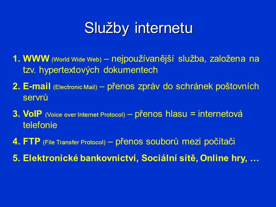 Služby internetu 1.WWW (World Wide Web) – nejpoužívanější služba, založena na tzv.