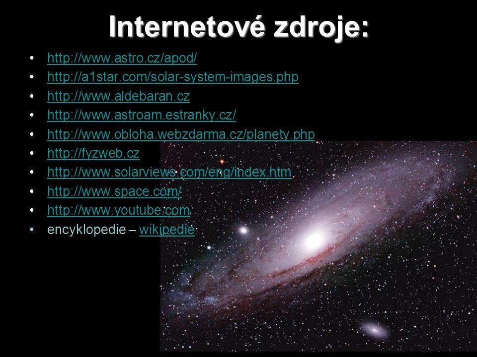 Internetové zdroje: http://www.astro.cz/apod/ http://a1star.com/solar-system-images.php http://www.aldebaran.cz http://www.astroam.estranky.cz/ http://www.obloha.webzdarma.cz/planety.php http://fyzweb.cz http://www.solarviews.com/eng/index.htm http://www.space.com/ http://www.youtube.com encyklopedie – wikipediewikipedie