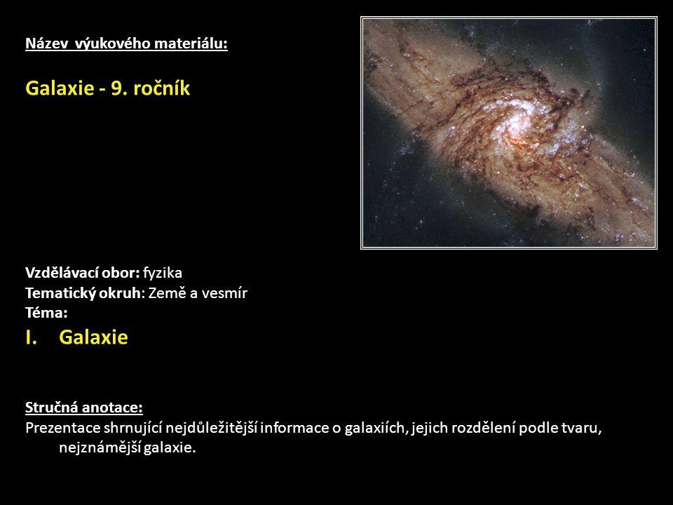 Název výukového materiálu: Galaxie - 9.