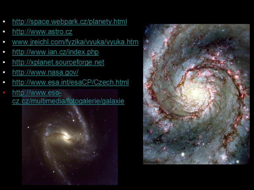 http://space.webpark.cz/planety.html http://www.astro.cz www.jreichl.com/fyzika/vyuka/vyuka.htm http://www.ian.cz/index.php http://xplanet.sourceforge.net http://www.nasa.gov/ http://www.esa.int/esaCP/Czech.html http://www.eso- cz.cz/multimedia/fotogalerie/galaxiehttp://www.eso- cz.cz/multimedia/fotogalerie/galaxie