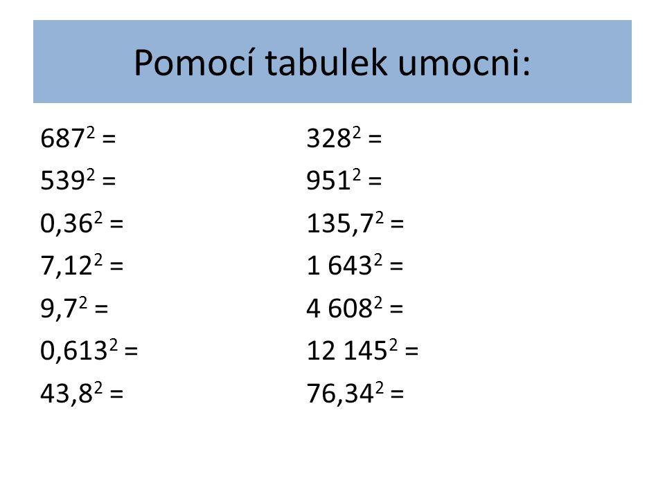 Pomocí tabulek umocni: 687 2 =328 2 = 539 2 =951 2 = 0,36 2 =135,7 2 = 7,12 2 =1 643 2 = 9,7 2 =4 608 2 = 0,613 2 =12 145 2 = 43,8 2 =76,34 2 =