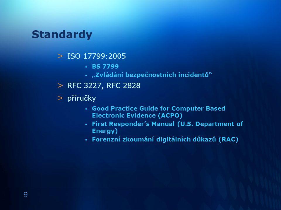 """9 Standardy > ISO 17799:2005 BS 7799 """"Zvládání bezpečnostních incidentů"""" > RFC 3227, RFC 2828 > příručky Good Practice Guide for Computer Based Electr"""