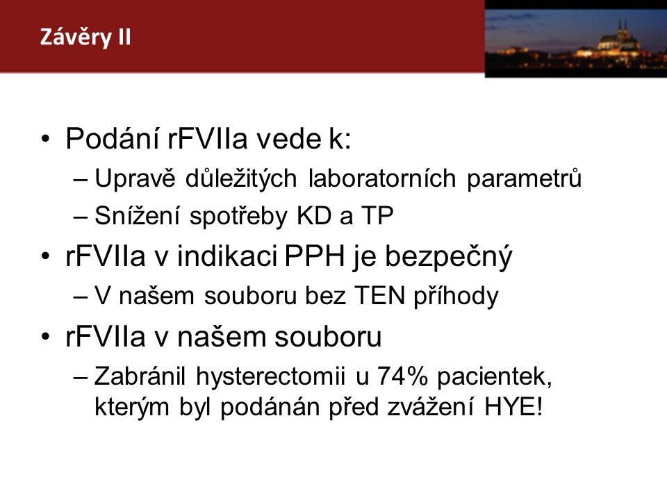 Závěry II Podání rFVIIa vede k: –Upravě důležitých laboratorních parametrů –Snížení spotřeby KD a TP rFVIIa v indikaci PPH je bezpečný –V našem souboru bez TEN příhody rFVIIa v našem souboru –Zabránil hysterectomii u 74% pacientek, kterým byl podánán před zvážení HYE!