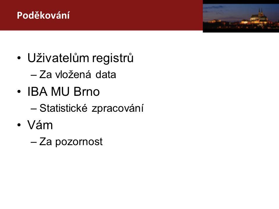 Poděkování Uživatelům registrů –Za vložená data IBA MU Brno –Statistické zpracování Vám –Za pozornost