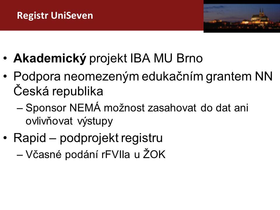Registr UniSeven Akademický projekt IBA MU Brno Podpora neomezeným edukačním grantem NN Česká republika –Sponsor NEMÁ možnost zasahovat do dat ani ovlivňovat výstupy Rapid – podprojekt registru –Včasné podání rFVIIa u ŽOK