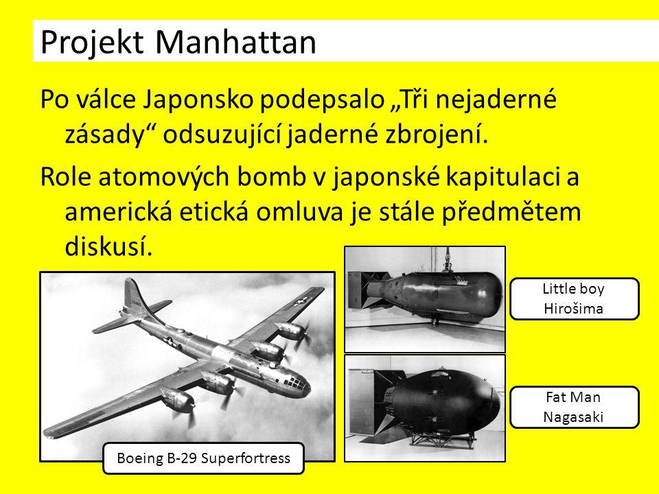 """Po válce Japonsko podepsalo """"Tři nejaderné zásady odsuzující jaderné zbrojení."""