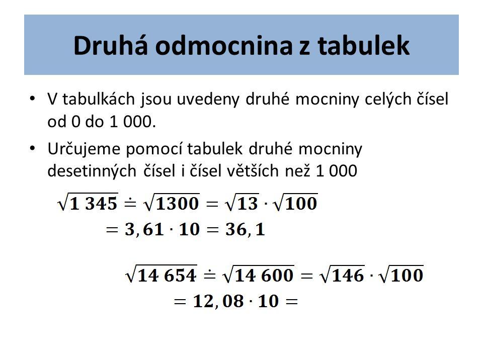 Druhá odmocnina z tabulek V tabulkách jsou uvedeny druhé mocniny celých čísel od 0 do 1 000.
